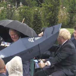 video- -prins-charles-lacht-als-britse-premier-johnson-met-paraplu-worstelt